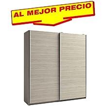ARMARIO ROPERO DE DOS PUERTAS CORREDERAS COLECCIÓN MUNDOO, COLOR SABLE, MEDIDAS 201,5 x 215,5 x 56 cm.CM - OFERTAS DE HOGAR ¡AL MEJOR PRECIO!