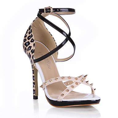 LvYuan Damen-Sandalen-Büro Kleid Lässig-PU-Stöckelabsatz-Komfort-Schwarz Silber Black
