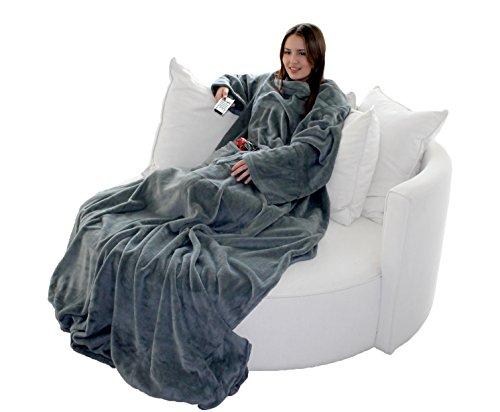 Brandsseller Flauschige TV-Decke mit Ärmeln in Cashmere Feeling - Fußsack und 2 Taschen - Kuscheldecke Tagesdecke - 170 x 200 cm - Grau -