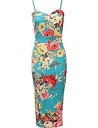 Trägerkleid für Damen, Blumenmotiv, figurbetont,Größe 36–54