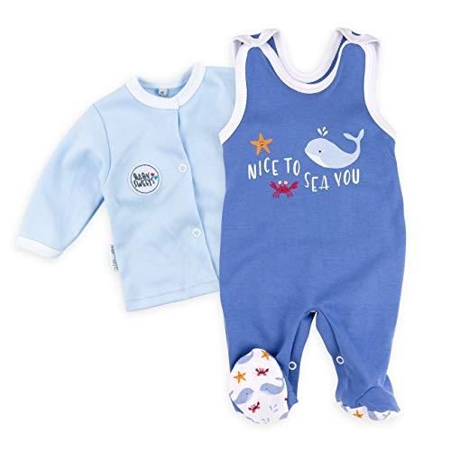 Baby Sweets Baby Set Strampler + Shirt Jungen blau | Motiv: Nice to Sea You | Babyset 2 Teile für Neugeborene & Kleinkinder | Größe 6 Monate (68)...... -