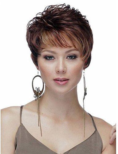 Perruque & xzl Perruques Fashion europe et aux états-unis vent les femmes mélangent dame de couleur de cheveux courts perruques de cheveux synthétiques