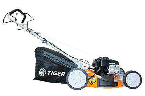 The Tiger TM5120SP Self Propelled Petrol Lawn Mower definitely offers great value for money and is an excellent mower well worth considering. You get a powerful engine coupled with unparalleled cutting flexibility. Better still, it has a generously sized grass collector at 65 litres and different ways of handling your grass clippings.