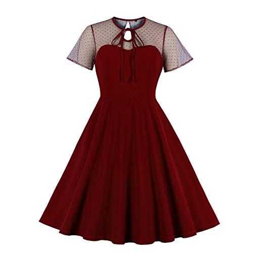 Wellwits Damen Cocktailkleid mit Schlüsselloch-Krawatte, gepunktet, Vintage-Stil - Rot - 42 Mehr Rot Voller Rock