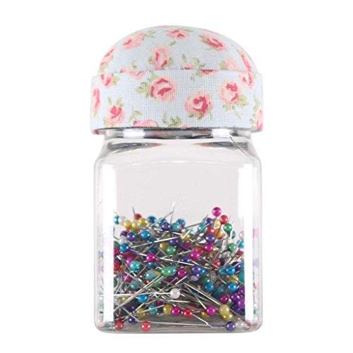 Peyviva 300 PCS PIN Plastikaufbewahrungsflasche PIN Pearlized Kopf Stecknadeln im Glas mit Pin Cushion Deckel