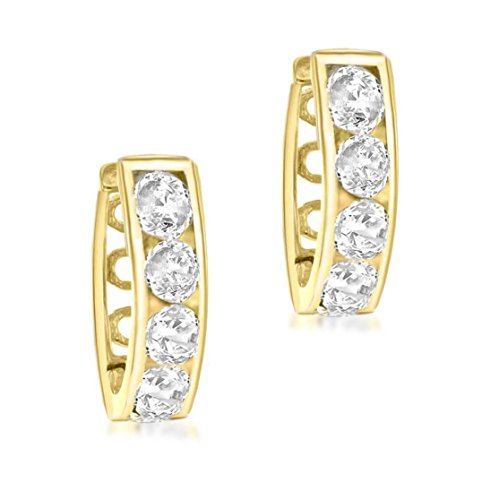 Carissima 9 ct Or blanc 17 mm Cubic zirconia Huggy Earrings Doré