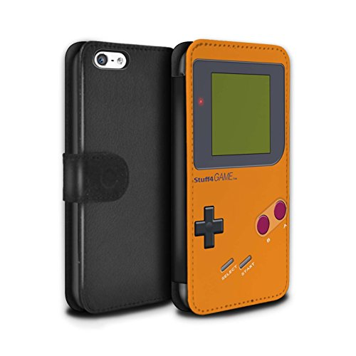Stuff4 Coque/Etui/Housse Cuir PU Case/Cover pour Apple iPhone 5C / Jaune Design / Jeu Vidéo/Gameboy Collection Orange