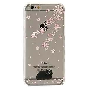 Cover iPhone 6, TrendyBox Cute Case Cover per iPhone 6 + 0.3mm Vetro Temperato Pellicola Protettiva + Gufo Cinghia Telefono (Fiori Di Ciliegio e Gatto Nero)