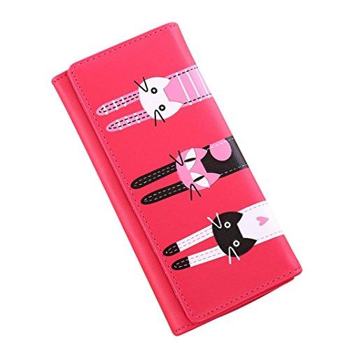 Internet Femmes chat modèle Coin portefeuille Cuir d'unité centrale Long sac à main 18cm×9cm (Hot Pink)