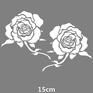 HANO CarFlowers Schöne rote Rose Kreative Abziehbilder Cyter Auto Tuning Styling Wasserdicht 15 * 14cm & amp; 24 * 23cm Duad D11: 15x14 Weiß