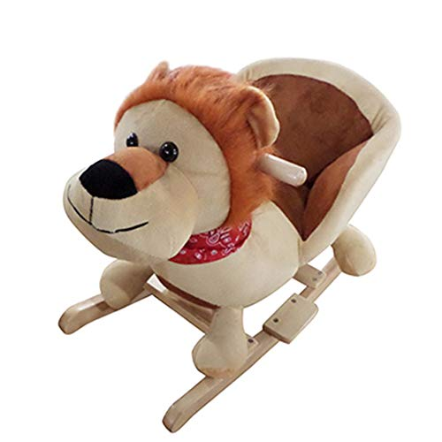 YAOBLUESEA Schaukelpferd Baby Schaukeltier Plüsch Schaukel Pferd Baby Schaukelspielzeug Geschenk für Kinder mit Sound Braun Löwe