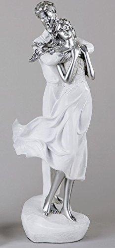 Formano - Hochzeits-Figuren Paar für Torte - Brautpaar Deko-Figur Liebespaar Skulptur auf Herz - 40cm hoch weiß/Silber
