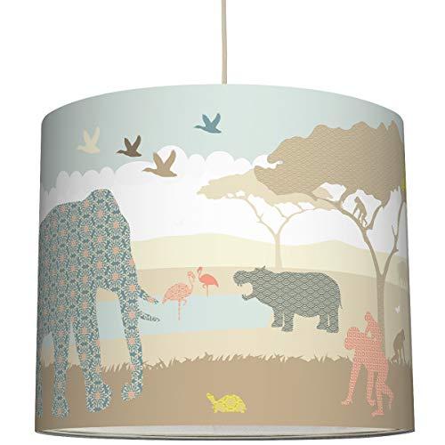 anna wand Hängelampe Hello Africa NATURFARBEN - Lampenschirm für Kinder/Baby Lampe mit Tieren aus Afrika - Sanftes Kinderzimmer Licht Mädchen & Junge - ø 40 x 34 cm