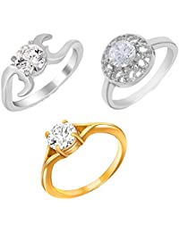 Mahi Gold & Rhodium Plated Combo Of Three Finger Rings With Swarovski Zirconia For Women CO1104611M