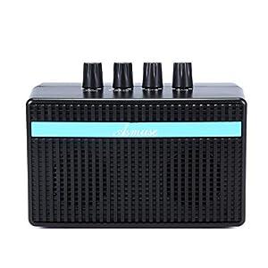 Asmuse Mini Amplificatore Basso Elettrico 3W Amplificatori Combo Basso Batteria Integrata e Ricaricabile, Jack per Cuffie Aux-in Jack/USB Cavo di Carica Incluso, Nero