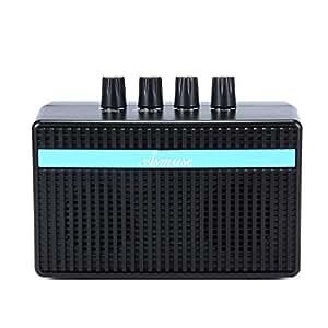 Mini Amplificatore Basso Elettrico 3W Amplificatori Combo Basso Batteria Integrata e Ricaricabile, Jack per Cuffie Aux-in Jack/USB Cavo di Carica Incluso, Nero