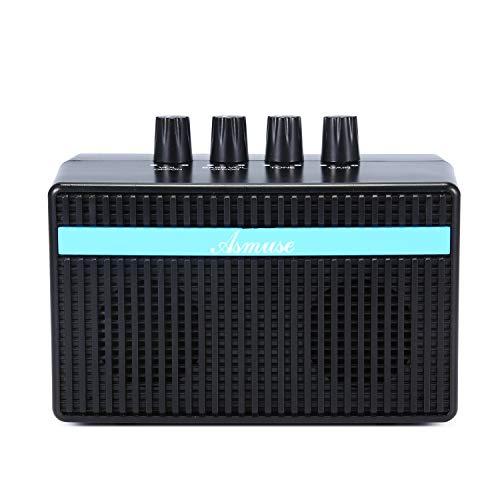 Asmuse 3W Mini Amplificador Combo para guitarras Bajo Eléctrico Instrumentos Amp con efecto de Distorsión y USB Recargable 5V