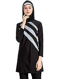 schlichter Badeanzug seafanny Muslimische Bademode f/ür Damen islamischer Badeanzug Burkini 3-teiliger Ganzk/örper-Hijab