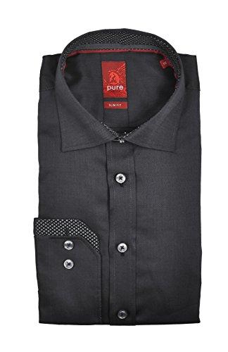 Slim Fit - Bügelleichtes Herren Langarm Hemd in verschiedenen Farben, Marke Pure (3525 786) Grau (78)