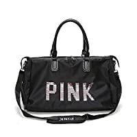 Befound Gym Bag For Women,Pink Letters Pattern Waterproof Oxford Fabric Crossbody Bag,Large Capacity Sports Duffel Bag,Training Bag,Yoga Travel Handbag,Black Sports Bags & Backpacks,Shoulder Bag