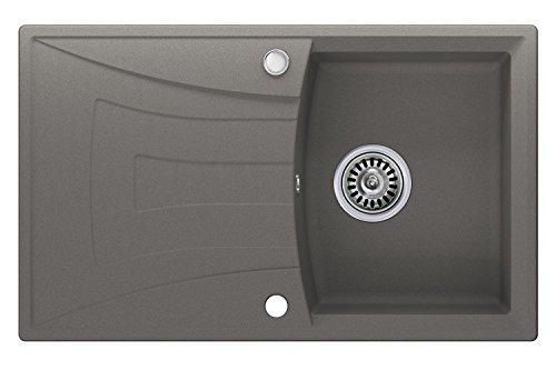 Granitspüle grau, 1-Becken, Drehexcenter + Siphon, Spülbecken, Küchenspüle, Schrankbreite ab 45 cm