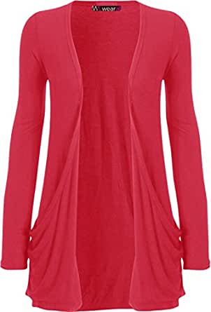 """WearAll - """"pocket"""" cardigan à manches longues - Hauts - Femme - Cherry - 36-38"""