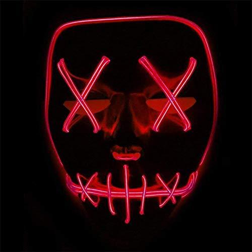 Halloween Maske LED Light EL Wire Cosplay Maske Purge Mask für Festival Cosplay Halloween Kostüm (Rot)