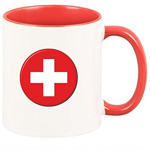 Geschenkartikel Tasse Schweizer-Flagge Schweiz Kaffeetasse Becher Deko YD 3-001-885