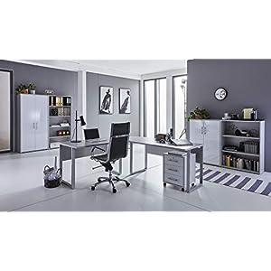BMG-Moebel.de Büromöbel komplett Set Arbeitszimmer Office Edition in Lichtgrau/Weiß Hochglanz (Set 1)