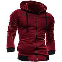 Sourcingmap Men Full Zip Up Long Sleeve Fleece Inside Hoodie Sweatshirt