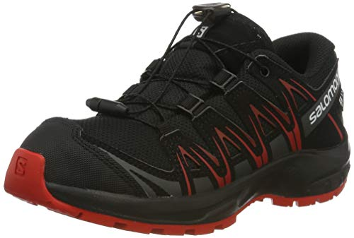 Salomon XA Pro 3D CSWP J, Zapatillas de Deporte para Niños, Negro/Rojo Black/High Risk Red, 37 EU