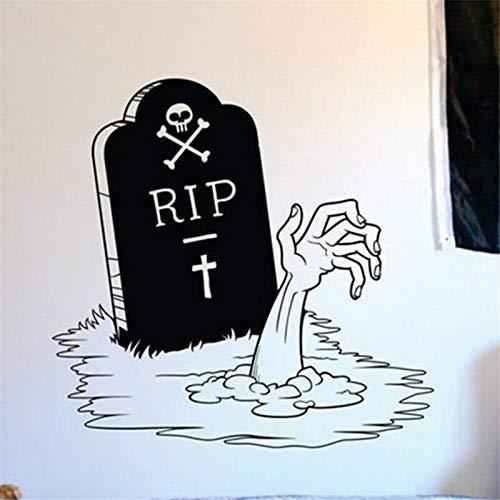haochenli188 Happy Halloween Zombie Hand und Grabstein Wohnzimmer Vinyl Carving Wandtattoo Aufkleber für Holiday Party Home Fenster 58x58cm (Drucken Halloween Zum Happy)