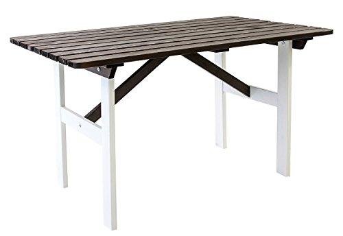 Ambientehome Gartentisch Tisch Massivholz Esstisch HANKO, Weiß/Taupegrau
