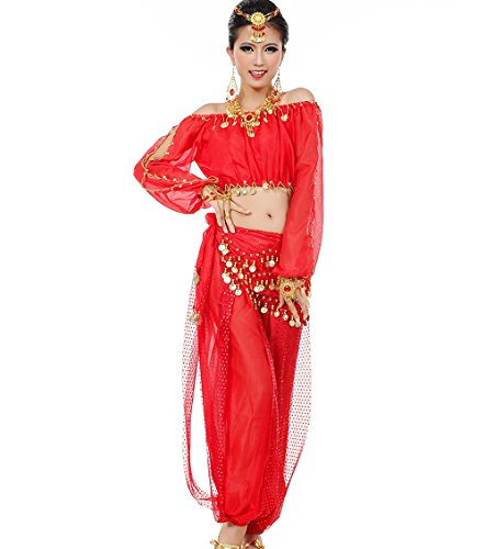 Astage donne danza del ventre costume active wear a maniche lunghe top set rosso
