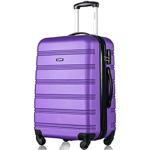 Flieks Hartschale Trolley Koffer Reisekoffer Zwillingsrollen Reisekoffer mit Zahlenschloss Handgepäck mit 4 Doppel-Rollen, XL-L-M (L, Lila)