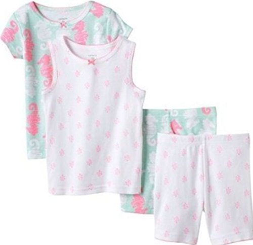 Carter's Schlafanzug 80/86 Pajama Kurz 4 Teilig (24 Monate) Mädchen Pink Seepferdchen (Carters Schlafanzug Kurzen)