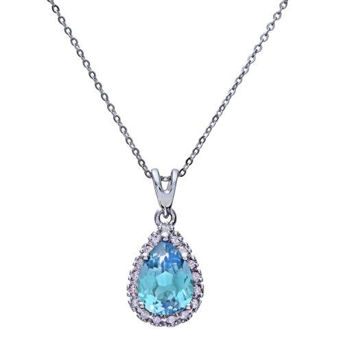 Naava collana con pendente da donna in oro bianco 9k con diamante