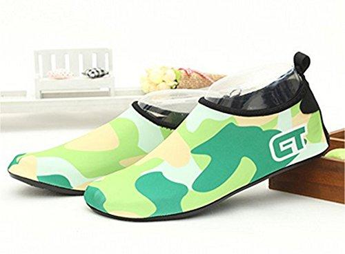 ECOTISH Unisex Donne uomini Scarpe da Immersione da Scoglio Scarpette da Bagno Mare Spiaggia Ballo Yoga Materiale Traspirante Elastico Antiscivolo Super Leggere Verde
