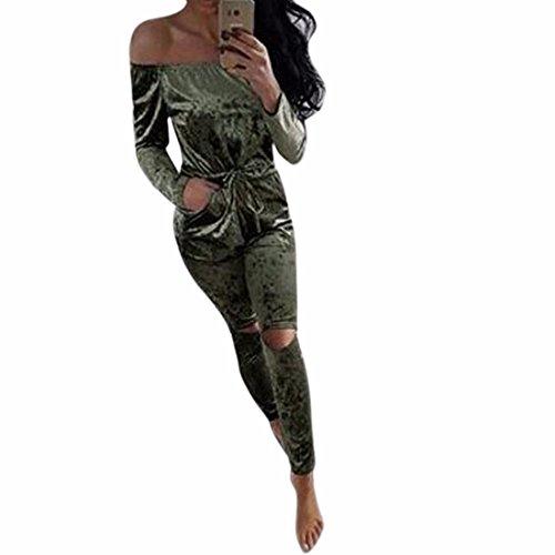QIYUN.Z Femmes Sexy Cou Bas Cou Sangles Cordon Longs Pantalons Longs Pantalons Vert