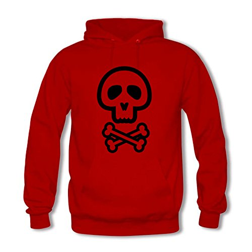 Womens Pullover Casual Black Simple Skull Graphic Hooded Sweatshirt D
