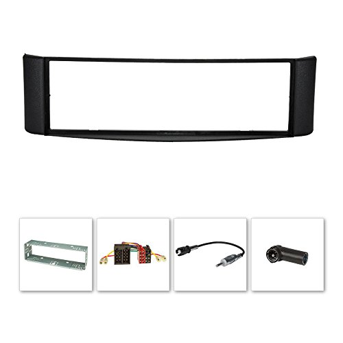 Radioblende (Set) für Smart fortwo (450) 1998-2007, schwarz, Metallschacht, ISO-Adapter, DIN+ISO Antennenadapter