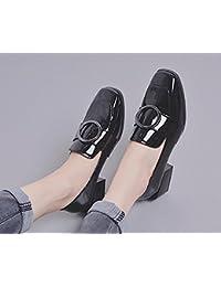 El nuevo lado con un pequeño zapatos cuadrados con un pequeño zapatos redondos con los zapatos ocasionales de los zapatos salvajes , black , 8