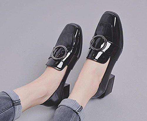 Le nouveau côté avec une petite chaussures carrés avec des chaussures petites rondes avec des chaussures sauvages chaussures de sport Black