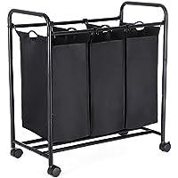 SONGMICS Wäschekorb Wäschesortierer 132 L Kapazität, Wäschesammler mit 3 Fächern, Wäschewagen auf Rollen, Metallrahmen, Schwarz LSF003B
