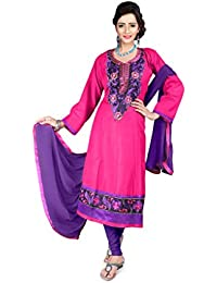 Jheenu Women's Rani Cotton anarkali Embroidered Unstitched Dress Material