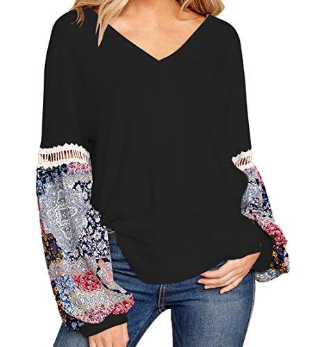 LittleLittleSky Damen Tunika-Oberteil mit V-Ausschnitt, bedruckt, Blasenärmeln, gespleißte Schultern (US 12-14) L schwarz -