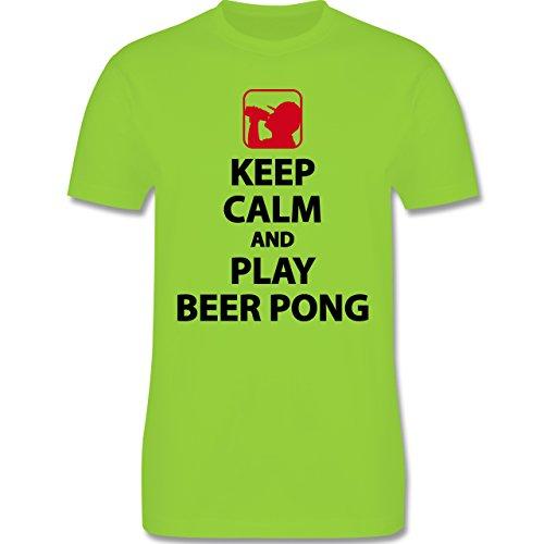 Shirtracer Festival - Keep Calm and Play Beer Pong - Herren T-Shirt Rundhals Hellgrün
