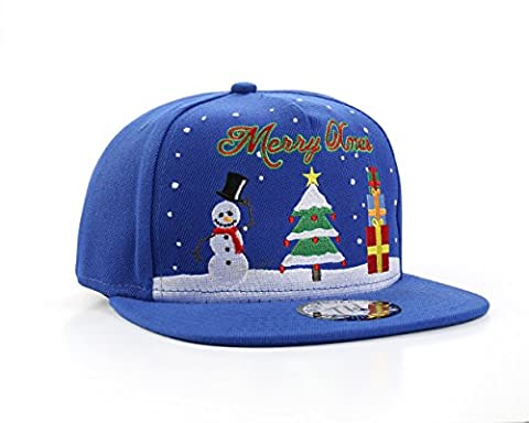 MERRY XMAS Christmas Tree & Snowman Snapback Baseball Cap by True Heads