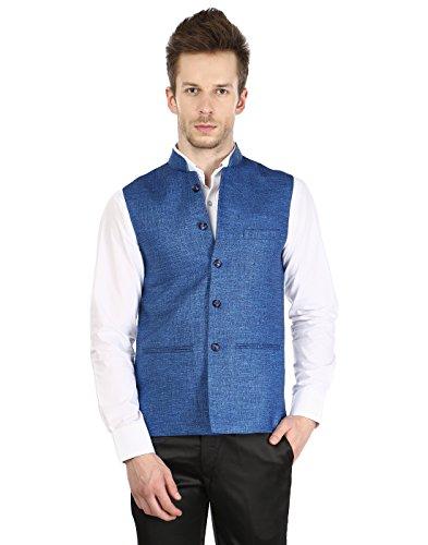 Platinum Studio Men's Nehru Jacket ( NJ-797-BLU-40_Blue)