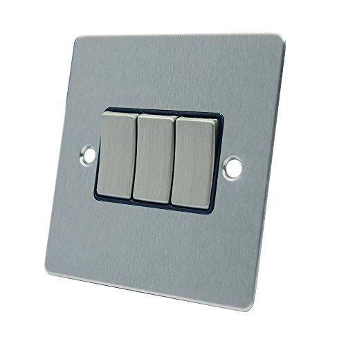 AET fsc3gswibs 10A Lichtschalter 3-fach 2-Wege-Satin Chrom flach Dreifach Lichtschalter mit schwarzem Einsatz Metall Wippen - Moderne Dreifach-schalter